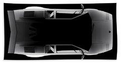 Lamborghini Countach 5000 Qv 25th Anniversary - Top View Beach Towel