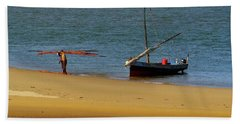Lamu Island - Wooden Fishing Dhow Getting Unloaded - Colour Beach Towel