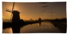 Lancaster Bombers And Dutch Windmills Beach Towel by Ken Brannen