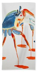 Land Crab Fight Stance Beach Towel