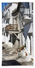 Beach Towel featuring the photograph Street In Capileira Puebla Blanca by Heiko Koehrer-Wagner