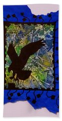 Landing Eagle Silhouette Beach Towel