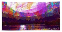 Beach Sheet featuring the digital art Landscape Winter Fog Sunrise Birds  by PixBreak Art