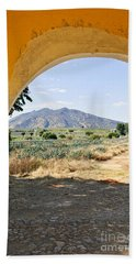 Landscape With Agave Cactus Field In Mexico Beach Towel