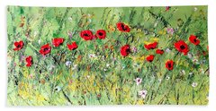Beach Towel featuring the painting Landscape With Poppies by Dorothy Maier