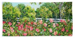 Landscape With Roses Fence Beach Towel