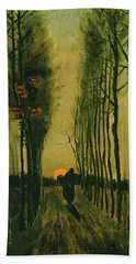 Beach Towel featuring the painting Lane Of Poplars At Sunset by Van Gogh