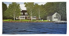 Beach Towel featuring the painting Langer Summer Home Lake Simcoe by Kenneth M Kirsch