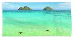 Lanikai Beach Two Sea Turtles And Two Mokes Beach Towel by Aloha Art