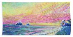 Beach Towel featuring the painting Lanikai Sunrise by Angela Treat Lyon