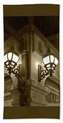 Lanterns - Night In The City - In Sepia Beach Towel by Ben and Raisa Gertsberg