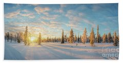 Beach Towel featuring the photograph Lapland Panorama by Delphimages Photo Creations