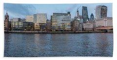 Large Panorama Of Downtown London Betwen The London Bridge And T Beach Towel