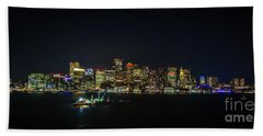 Large Panoramic Of Downtown Boston At Night Beach Towel