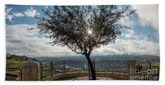 Large Tree Overlooking The City Of Jerusalem Beach Towel