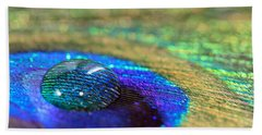 Beach Towel featuring the photograph Large Water Drop On A Feather by Angela Murdock
