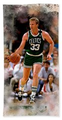 Larry Bird Beach Towel by Karl Knox