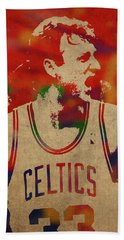 Larry Bird Watercolor Portrait Beach Towel