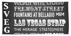 Las Vegas Famous Landmarks Beach Towel