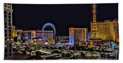 Las Vegas Night Skyline Beach Towel by Walt Foegelle