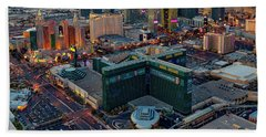 Beach Towel featuring the photograph Las Vegas Nv Strip Aerial by Susan Candelario
