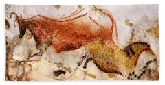 Lascaux Cow And Horse Beach Towel