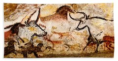 Lascaux Hall Of The Bulls - Deer And Aurochs Beach Towel
