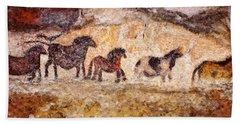 Lascaux Horses Beach Towel