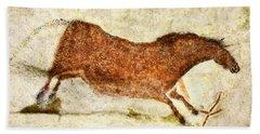 Lascaux Red Horse Beach Towel