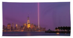 Laser Twin Towers In New York City Beach Towel