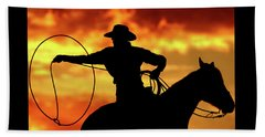 Lasso Sunset Cowboy Beach Towel