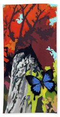 Last Butterfly Before Winter Beach Sheet by John Lautermilch