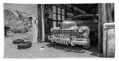 Last Chance Gas - Old Desert Garage Bw Beach Towel