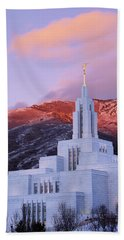 Last Light At Draper Temple Beach Towel by Chad Dutson