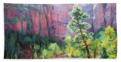 Beach Towel featuring the painting Last Light In Zion by Steve Henderson