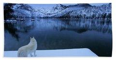 Last Light On Frozen Cascade Lake Beach Sheet