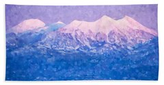Last Light On Mount Peale From Buck Canyon Overlook Beach Towel