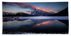 Last Light On Mount Rundle Beach Towel
