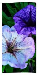 Last Of The Petunias   Beach Sheet by MaryLee Parker