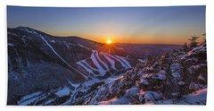 Last Winter Sunset Over Cannon Mountain Beach Sheet