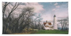 Late Afternoon At The Lighthouse Beach Towel by Scott Norris