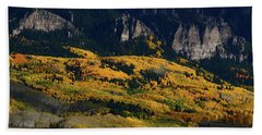 Late Afternoon Light On Aspen Groves At Silver Jack Colorado Beach Towel