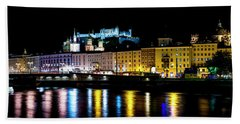 Beach Towel featuring the photograph Late Night Stroll In Salzburg by David Morefield