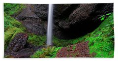 Latourell Falls Oregon Beach Sheet by Jonathan Davison