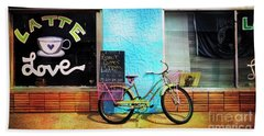 Latte Love Bicycle Beach Towel
