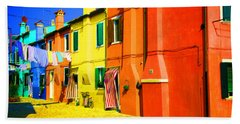 Beach Towel featuring the photograph Laundry Between Chimneys by Donna Corless