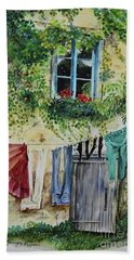 Beach Towel featuring the painting Laundry Day In France by Jan Dappen
