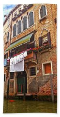 Beach Sheet featuring the photograph Laundry Drying In Venice by Anne Kotan