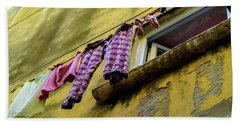 Laundry Hanging In Rovinj, Croatia Beach Towel