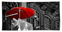 Laundry With Red Umbrella In Porto - Portugal Beach Sheet